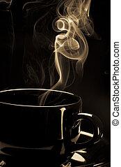cuire café vapeur, noir, tasse