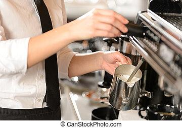cuire vapeur, chaud, cappuccino, barista, lait
