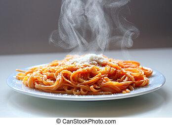 cuire vapeur, cheese., italien, spaghetti, parmesan