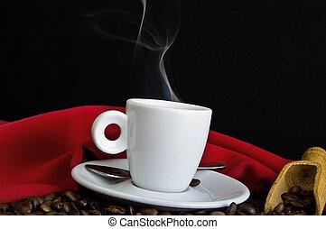 cuire vapeur, fin, grains café, haut