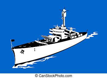 cuire vapeur, passé, navire guerre