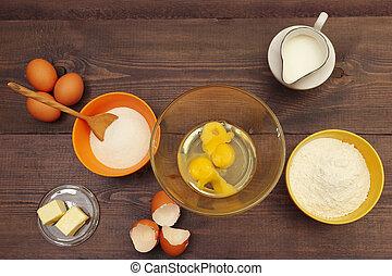 cuisant four ingrédients, bois, above., pâte, confection, table., vue