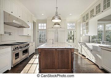 cuisine, à, blanc, bois, cabinetry