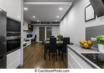 cuisine, à, salle de séjour