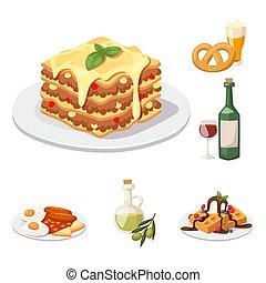 cuisine, éléments, illustration., plat, nourriture, projection, dîner, vecteur, savoureux, délicieux, européen