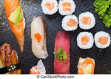 cuisine., セット, 寿司, 日本語, 背景