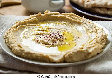 cuisine:, 作られた, 中東である, hummous, 新たに