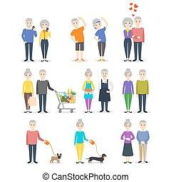cuisine, achats, différent, ensemble, fonctionnement, gens., selfie., activity:, sport, confection, personne agee