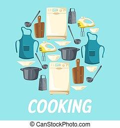 cuisine, appareil, ustensiles cuisine, kitchenware