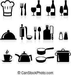 cuisine, articles, icône internet, collection