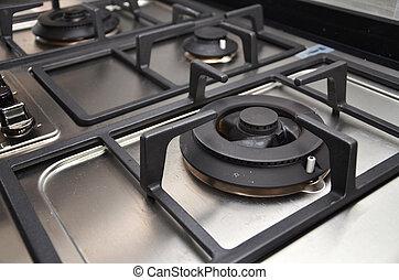 cuisine, asphyxiez poêle, dans cuisine