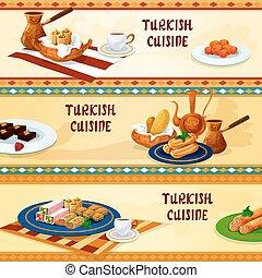 cuisine, bannières, turc, dessert, menu