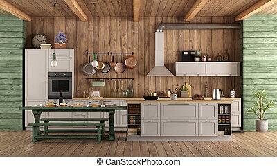 cuisine, blanc, vert, retro