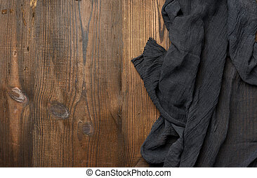 cuisine, bois, brun, table, gaze, serviette, noir