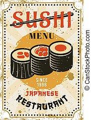 cuisine, coloré, affiche, sushi, japonaise, menu, clair