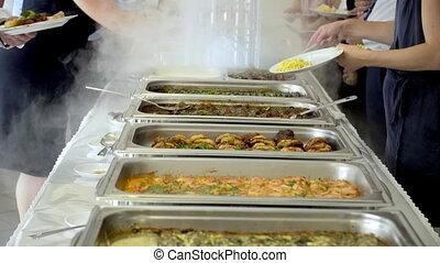 cuisine, concept, dîner, nourriture, buffet, restauration, ...