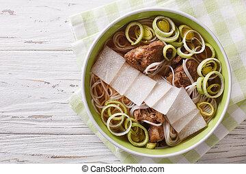 cuisine:, costole, closeup., manzo, cima, daikon, galbitang, minestra, riso, coreano, tagliatelle, orizzontale, vista