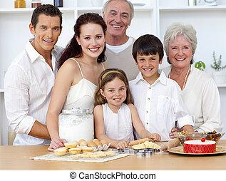 cuisine, cuisson, grand, famille