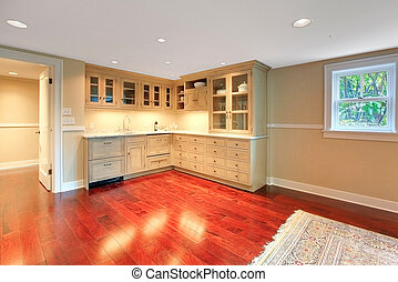 cuisine, dans, les, sous-sol, de, luxe, maison