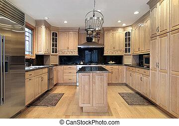cuisine, dans, nouveau, construction, maison
