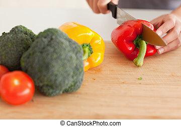 cuisine, debout, mains, légumes, quoique, femme