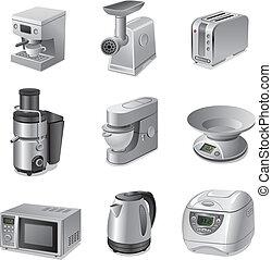 cuisine, ensemble, appareils, icône
