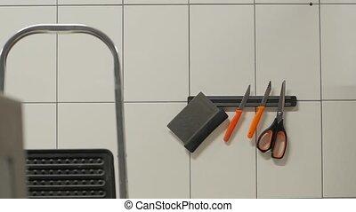 cuisine, ensemble, couteaux