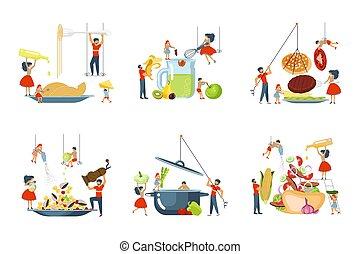 cuisine, ensemble, famille, ensemble, heureux