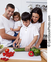 cuisine, ensemble, famille, gai