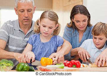 cuisine, ensemble, famille