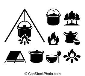 cuisine, ensemble, icônes, randonnée, sur, cuisine, brûler, feu camp