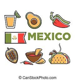 cuisine, ensemble, mexique, isolé, traditionnel, flad, illustrations