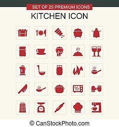 cuisine, ensemble, rouges, icônes