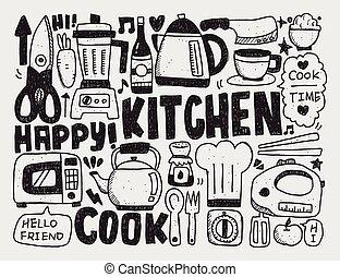 cuisine, et, cuisine, fond