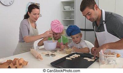 cuisine, famille, ensemble