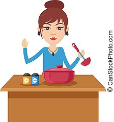 cuisine, femme, illustration, arrière-plan., vecteur, blanc