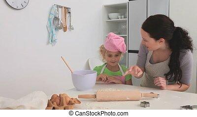 cuisine, fille, elle, mère