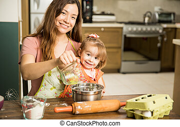 cuisine, fille, mère