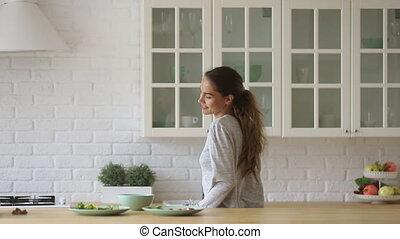 cuisine, indépendant, danse, seul, cuisine, girl, actif, ...