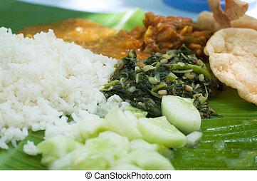 cuisine, indien, feuille, banane