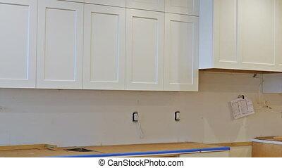 cuisine, installed, nouvelle maison, amélioration, remodeler, vue