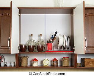 cuisine, intérieur, à, porte ouverte