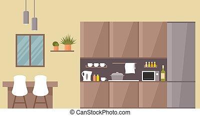 cuisine, interior., dîner, table.