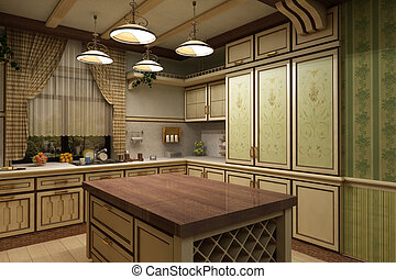 Cuisine interior in vintage style - 3 d model of kitchen in ...