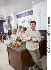 cuisine, manger, fond, famille, homme