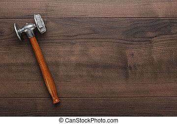 cuisine, marteau, sur, les, table bois
