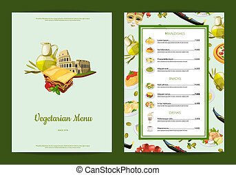cuisine, menu restaurant, illustration, vecteur, café, ou, italien