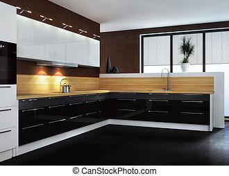 cuisine, moderne, kitchen.