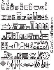 cuisine, ou, garde-manger, étagères