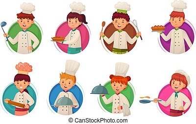 cuisine, peu, gosses, chefs, chef., enfants, cuisiniers, illustration, rond, ensemble, vecteur, enfant, cercle, trou, cadre, dessin animé, gosse